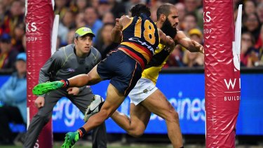 Rushed behind: Adelaide's Eddie Betts and Bachar Houli tangle on the goal line.