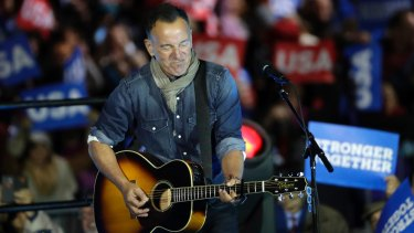 Bruce Springsteen performing at a Hillary Clinton campaign event in Philadelphia ahead of last November's election.