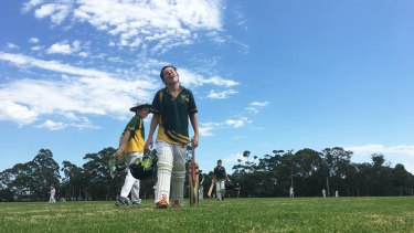 Sport events were cancelled all over NSW but it didn't stop one school event from taking place: Under 13's St Augustine's College (pictured) took on Wakehurst cricket side at Lionel Watts Park in French's Forest.