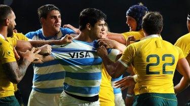 Matias Moroni of Argentina clashes with Nick Phipps of Australia.
