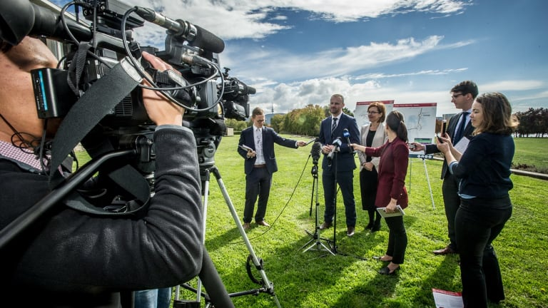 ACT Chief Minister Andrew Barr and Minister for Transport and City Services Meegan Fitzharris announce the first round of consultation for Light Rail Stage 2.