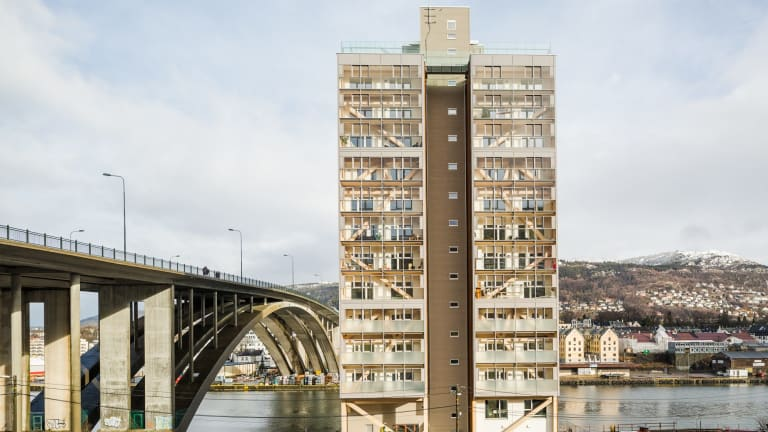 The 14-storey Treet building in Bergen, Norway, currently the world's tallest wooden building.