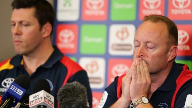 Chief Executive of the Adelaide Crows Andrew Fagan and Chairman Rob Chapman speak during a press conference about Phil Walsh's death.
