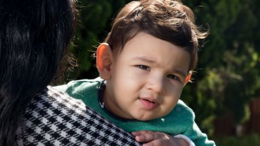 Samuel, 11 months, from Iran, is living in the community with his family in Sydney but might still be sent to Nauru.