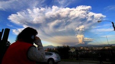The Calbuco volcano eruption seen from Puerto Varas city, south of Santiago.