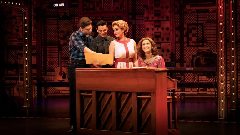 Esther Hannaford as Carole King, Josh Piterman as Gerry Goffin, Mat Verevis as Barry Mann, Lucy Maunder as Cynthia Weil in Beautiful: The Carole King Musical in Melbourne.