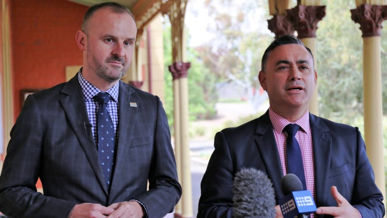 NSW deputy premier John Barilaro, right, is confident his government will be able to help the Canberra Raiders build their centre of excellence.