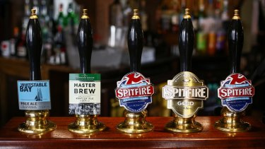 Some British ales on the bar at the Sun Inn in Faversham, UK.