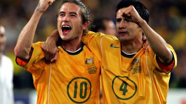 Lifetime of memories: Harry Kewell, left, with Tim Cahill