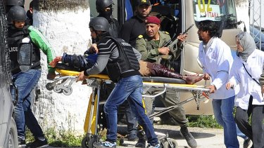 March 2015: A victim is evacuated during the attack on the Bardo National Museum in Tunis, in which 22 people were killed.