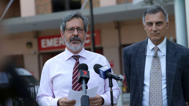 Director of the SESLHD public health unit Professor Mark Ferson and direcotr of clinical services Dr Martin Mackertich report the Legionnaire's outbreak at St George Hospital on Friday.