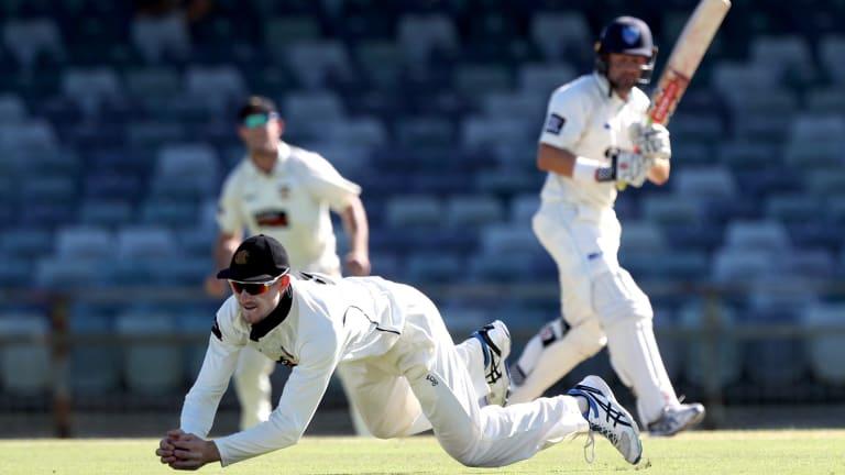 Western Australia's Cameron Bancroft catches Ed Cowan of NSW.