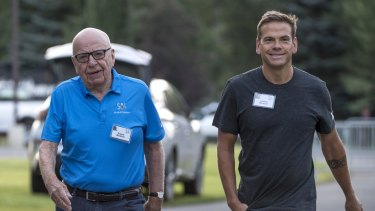 Barring any late and successful legal challenges from Lachlan Murdoch, pictured with his father, and Bruce Gordon, Ten has a new owner.