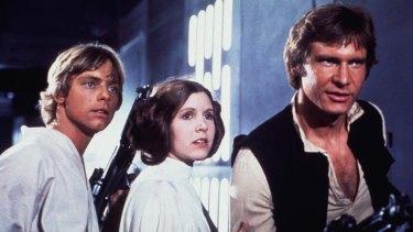 Luke, Leia and Han in 1977's original Star Wars: A New Hope.