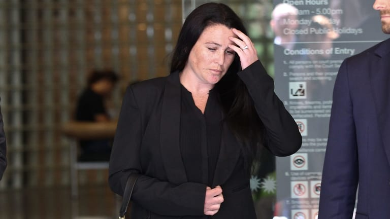 Widow of murdered Joseph Antoun Teagan Mullens leaves the Downing Centre.