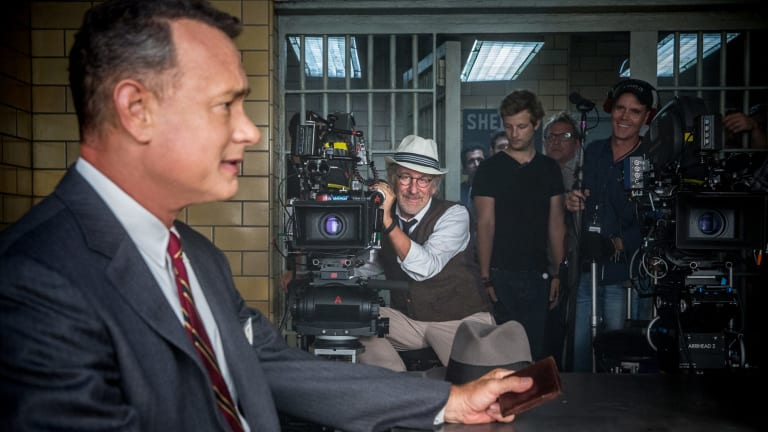 Tom Hanks and Steven Spielberg on the set of <i>Bridge of Spies</i>.