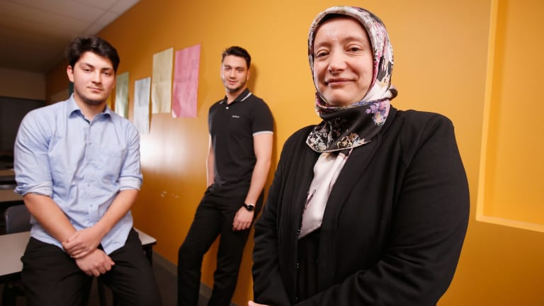 Former students Usama Iftikhar and Yusuf Ozen with with Ilim College Principal Aynur Simsirel.