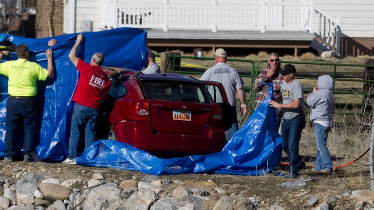 Police recover the vehicle from the Spanish Fork River in Utah.