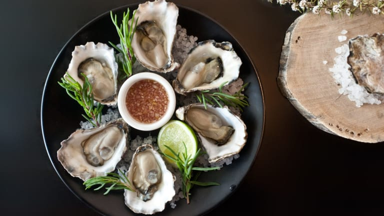 Specially grown oysters from Wapengo Rocks Wild Organic Oysters served at Temporada.