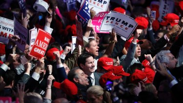 Supporters cheer for President-elect Donald Trump.