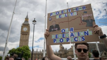 Protesters at Parliament Square on Saturday.
