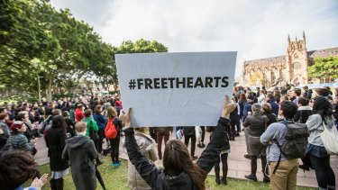 Cuts to arts funding prompted a series of protests around the country.