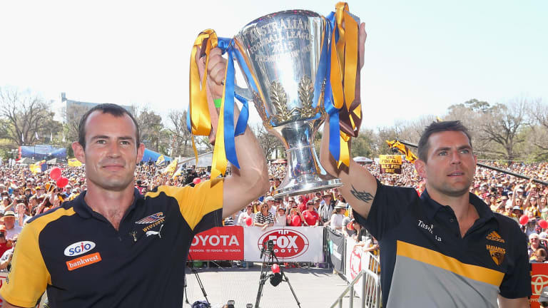 The two competing captains at the 2015 Grand Final parade