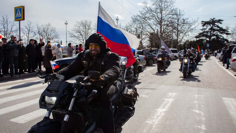 """The president of bike-club """"Night Wolves"""" Alexander Zaldostanov aka 'Surgeon', a well known pro-Kremlin activist takes part in a motor rally on the first anniversary of the referendum on March 16, 2014 in Sevastopol, Crimea."""