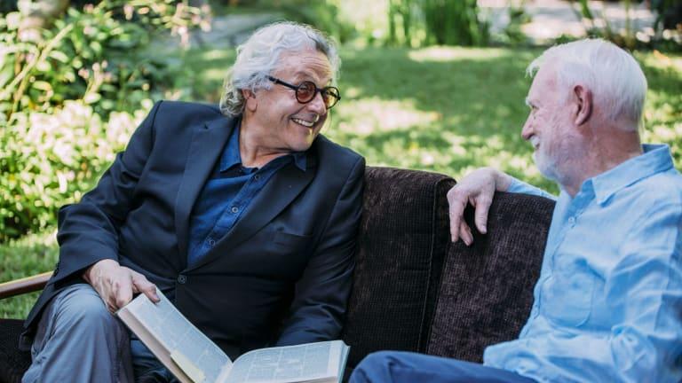 Film director George Miller, left and film critic David Stratton in <i>David Stratton: A Cinematic Life</i>.