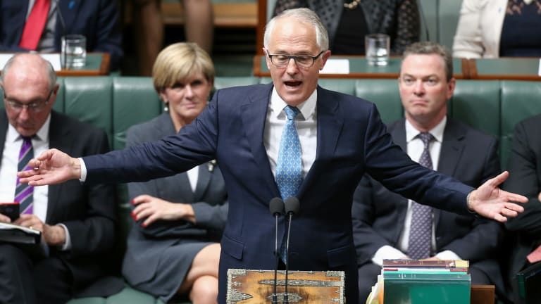 Prime Minister Malcolm Turnbull during Question Time at Parliament House in Canberra.