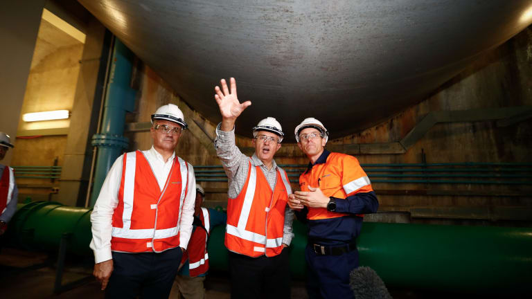 Prime Minister Malcolm Turnbull during his tour of the Snowy Hydro Tumut 3 power station in Talbingo, NSW.
