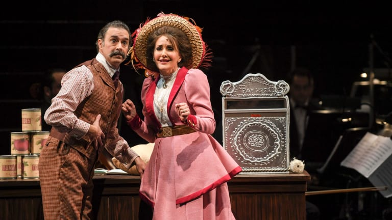 Inveterate matchmaker Dolly Levi (Marina Prior) has her work cut out with Horace Vandergelder (Grant Piro) in Hello, Dolly!