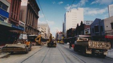 Swanston Street being dug up in 1992.