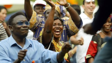 People from the Sudanese Dinka tribe at a National Harmony Day celebration.