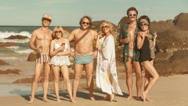 The good old days: Keith Hall (Guy Pearce), Kaye Hall (Kylie Minogue), Bob Marsh (Jeremy Sims), Gale Marsh (Asher Keddie), Rick Jones (Julian McMahon) and Jo Jones (Radha Mitchell) in Swinging Safari.