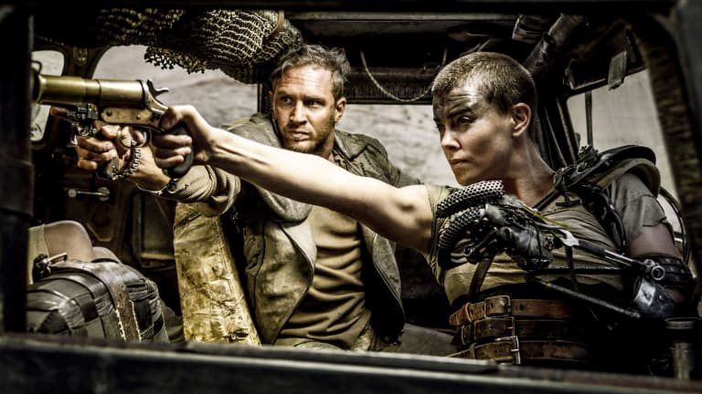 Tom Hardy and Charlize Theron in Mad Max Fury Road.