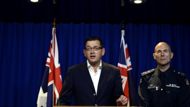 Premier Daniel Andrews and Victoria Police Deputy Commissioner Andrew Crisp at a press conference discussing the gang violence that occurred at Moomba.