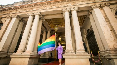 The lord mayor of the City of Sydney, Clover Moore, celebrates the beginning of the 2017 Sydney Gay and Lesbian Mardi Gras Festival.