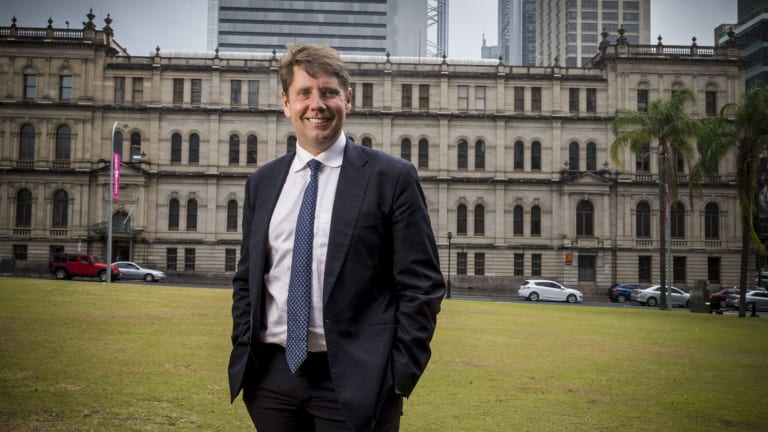 Echo Entertainment chief executive Matt Bekier in front of the Treasury Casino in Brisbane.