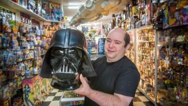 Aron Challinger with the Darth Vader helmet from the original Star Wars film.