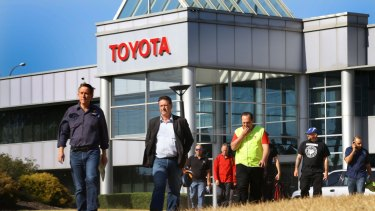 Staff outside Toyota's Altona plant.