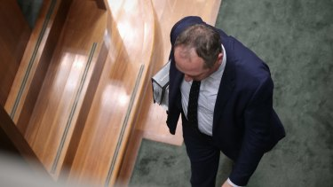 Deputy Prime Minister Barnaby Joyce leaves the house via a side door after question time on Thursday.
