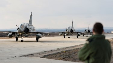 Three French Mirage fighter jets land in a base in Jordan to assist in the fight against the Islamic State group.