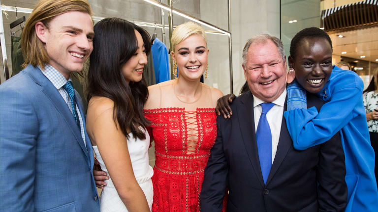 Celebrating Melbourne fashion ... Lord Mayor Robert Doyle (second from right) with the faces of Melbourne Fashion Week (from left) Thomas Davenport, Kristy Wu, Stefnia Ferrario and Ajak Deng.