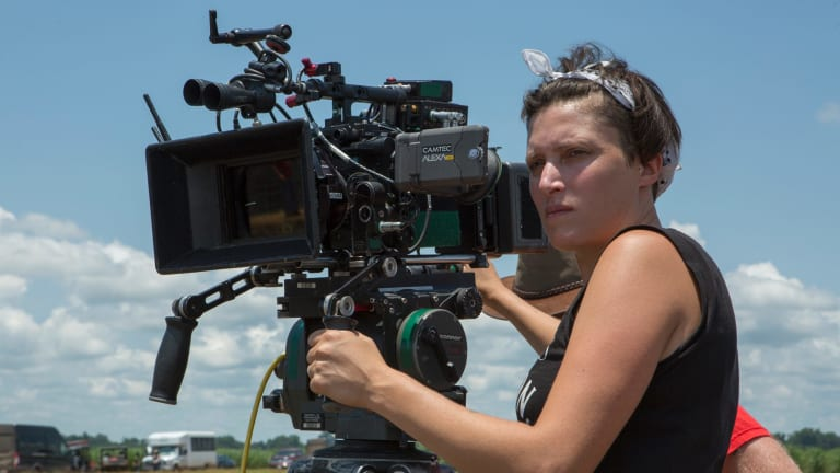 Cinematographer Rachel Morrison on the set of the film Mudbound.