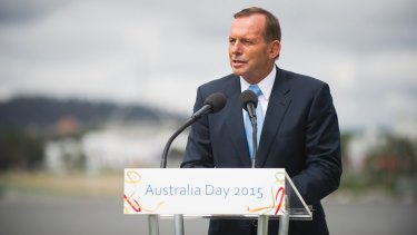 Prime Minister Tony Abbott at the Australia Day citizenship ceremony in Canberra.