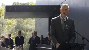 Arts Minister Senator George Brandis listens (centre, background) listens while Australia Council chief executive speaks at the opening of the new Australian Pavilion at the Venice Biennale last week.