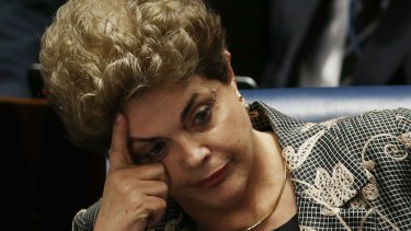 Dilma Rousseff during her impeachment trial on August 29.