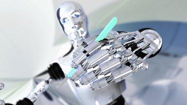 Robot holding a scalpel.