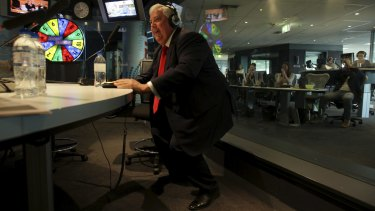 Palmer ''twerks'' during a radio interview with 2DayFM's Kyle and Jackie O while campaigning in Sydney in 2013.